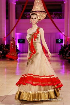 Beige color indo western gown.  Visit our website www.panachehautecouture.co.in for more collection of bridal gowns