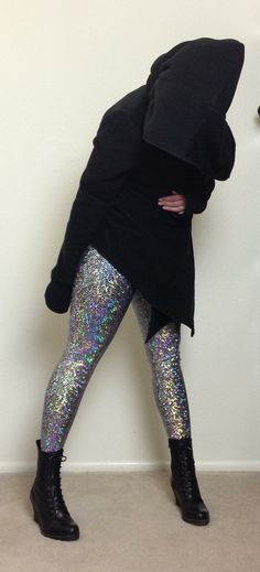 Silver Shattered Glass Holographic Leggings. It's Disco Ball Fabric!