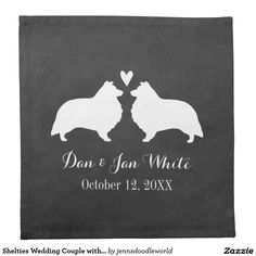 Shelties Wedding Couple with Custom Text Printed Napkins