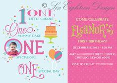 Girls First Polka-Dot Birthday Invitation designed by Six Eighteen Design. 5x7 Digital File - $25 USD.