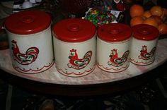 Vintage Decoware Rooster Canister Set 4   eBay