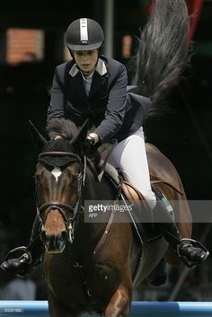 Greek rider Athina Onassis de Miranda jumps with her horse AD Welcome du Petit Vivier during the 1,45m jumping with obstacles against the clock event of the 2nd Athina Onassis International Horse Show, the final stage of the Global Champions Tour, in Sao Paulo, Brazil, on October 15, 2008. AFP PHOTO/Mauricio LIMA