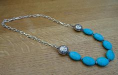 Turquoise Oval Beads with Paisley Patterned Silvered Beads & Tibetan Silver Spacers, Silver Plated Necklace by ClairesKrystalJewels on Etsy