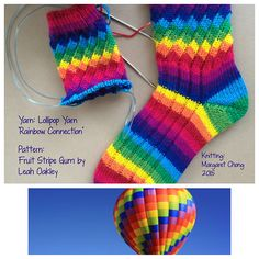Ravelry: Fruit Stripe Gum Socks, featuring a spiral rib pattern by Leah Oakley