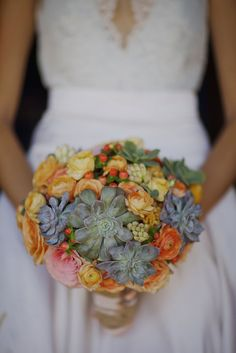 The bridal bouquet was created with succulents, ambiance roses, ranunculus, tuberose, garden roses and coffee bean berries Orange Wedding Flowers, Orange Flowers, Real Flowers, Flower Bouquet Wedding, Wedding Colors, Bridal Bouquets, Pretty Flowers, Beautiful Bouquets, Bright Flowers