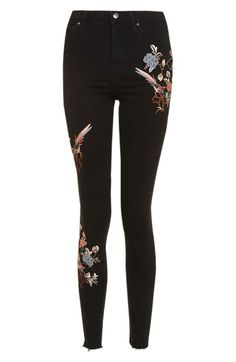 Topshop Jamie Embroidered Skinny Jeans available at #Nordstrom