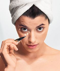 """Tip to Apply Under Eye Concealer -   Use the Owl  """"The natural tendency is to look up to the light, but then you can't see what you're trying to cover,"""" says New York City makeup artist Mike Potter. Instead, tip your chin down slightly and stare straight ahead into the mirror. This will expose the dark areas you need to focus on #makeup #tip #advice"""