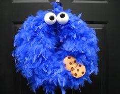 Blue Cookie Monster Feather Wreath by APinkLemonadeDesigns on Etsy, $30.00