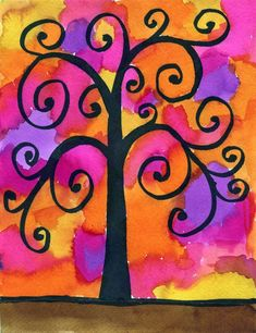Klimt Tree of Life Drawing · Art Projects for Kids. I was so happy to find this Klimt Tree of Life drawing idea at Artsonia from Cedar Creek Elementary. Using a marker for the tree allows lots of detail that the watercolor paint will never smear. Gustav Klimt, School Art Projects, Art School, School Stuff, Clay Projects, Arte Sharpie, 3rd Grade Art, Ecole Art, Autumn Art