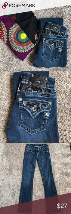 "Miss Me Jeans Miss Me Jeans size 26 and inseam 31"". Medium wash  with some distressing. Very good condition. Little bit of wear on the bottom cuff. Miss Me Jeans Boot Cut"