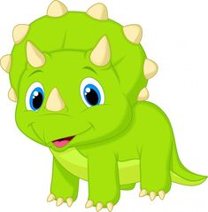 Cute Baby Triceratops Cartoon Wall Decal