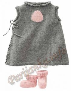 Kleid und Stiefel (d) 05 * 165 Bergere de France Nr. 3466 – Elena Szegal – Join in the world of pin Baby Knitting Patterns, Baby Patterns, How To Start Knitting, Knitting For Kids, Pull Bebe, Baby Sweaters, Baby Booties, Baby Dress, Knitwear