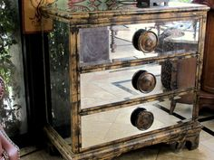 "Great new mirrored chest. Adds a wonderful design element to any room. 35"" w x 36.25""h x 17.25 d  Just $625.00"