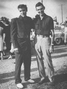 Elvis and Charlie Walker at the Memorial at Rodgers Park, May 25, 1955.