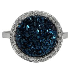 Blue Druzy 15mm Round Sterling Silver CZ Ring from The Luxe Store