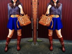 Fashion Floral Cutout Handbag