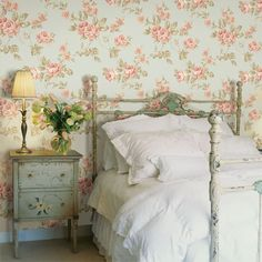 Brewster Home Fashions La Belle Maison x Bloom Embossed Wallpaper Color: Pink Bedroom Vintage, Romantic Bedroom Decor, Shabby Chic Bedrooms, Shabby Chic Homes, Shabby Chic Furniture, Shabby Chic Decor, Cottage Bedrooms, Country Bedrooms, Cottage Interiors