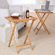 Amazon.com: Lipper International Snack Table With Lip, Set Of Two, Bamboo