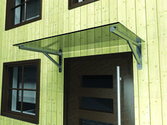 Modern glass door canopy with gallows brackets in 3 stock sizes plus bespoke widths available to order