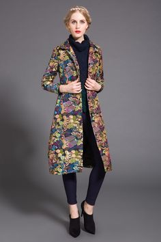 59.96$  Buy now - http://alidfo.worldwells.pw/go.php?t=32611442324 - Plus size 4XL 5XL Coats 2016 Spring Trench coat Women Trench long design fashion print pleuche trench Women's Outwear Overcoat