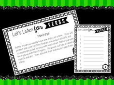 Let's Listen for Verbs - Students need to listen for and identify Verbs in the listening paragraph.