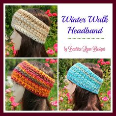 Winter Walk Headband is a simple and quick pattern that works up nicely!! An easy ribbed edging and slightly textural midsection set off the design… You can memorize this pattern in no time at all and make several up for gifts, sales or charity!! As usual, I love working with self-striping yarn and I think using Red Heart Boutique Unforgettable yarn shows off the beauty of this pattern perfectly!! No changing colors, simple-reptitive stitching and best of all… a free pattern!!