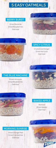 These breakfast oatmeal recipes will make it easy to keep your new year's resolutions. Just prep a week's worth of oatmeal in Ziploc® Twist 'n Loc containers. You can grab one on your way out the door and add hot water when you get to work. The different topping ideas include berries, almonds walnuts, and dried apples.