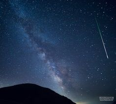 A Perseid meteor streaks over National Park Galicica Ohrid, Macedonia, on Aug. 12, 2017, in this view by astrophotographer Stojan Stojanovski with the Ohrid Astronomy Association.