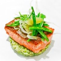 Steelhead with winter salad- green & white cauliflower 'cous cous', green beans, shaved fennel, meyer lemon, grapefruit and sweet lime-