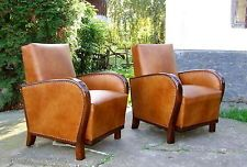 Art Deco Leather Armchairs Pair, Club Chairs. Genuine 1920s 30s Walnut Vintage. Starting bid $2,326... from Hungary.