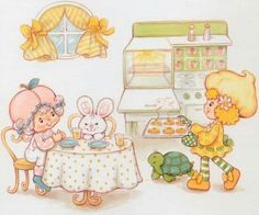 Baby Lemon Meringue & Baby Raspberry Tart Kitchen Baking Vintage 70s 80s Kenner American Greetings Strawberry Shortcake Greeting Card