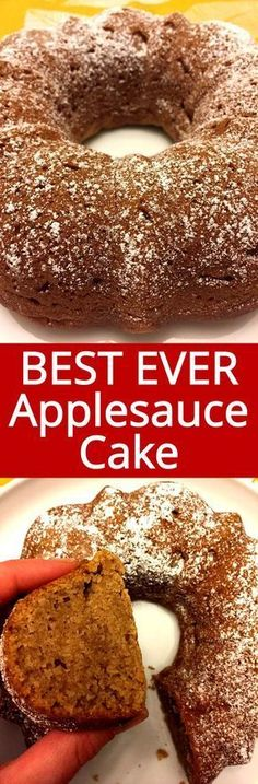 This applesauce bundt cake recipe is the best ever! So easy to make - just mix everything in one bowl, pour into a bundt and bake! Your house will smell amazing! This is the only applesauce cake recipe you'll ever need!