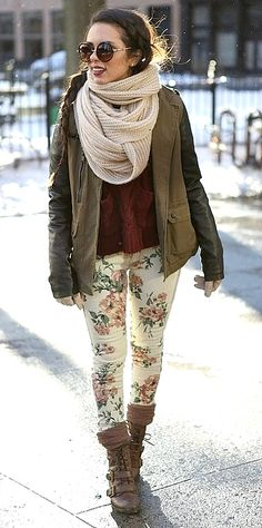Winter layers, floral skinnies, boots.