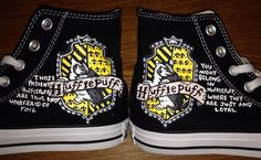 Huffle Puff Harry Potter Hand Painted Custom by CandysCustomPaints, $110.00