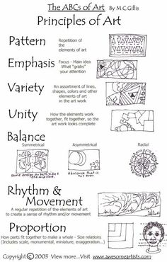Elements and Principles of art and design. Both B/W and color printables for each of the elements and principles High School Art, Middle School Art, Zentangle, Art Doodle, Elements And Principles, Art Elements, Elements Of Design Form, Principles Of Art Unity, Principles Of Design Proportion