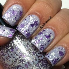 Bunny Snacks: Purple And White Glitter Topper Nail Polish Lacquer- Indie Nail Polish Custom Handmade