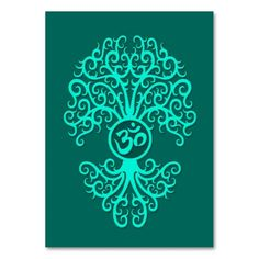Teal Blue Om Tree Business Cards. Make your own business card with this great design. All you need is to add your info to this template. Click the image to try it out!