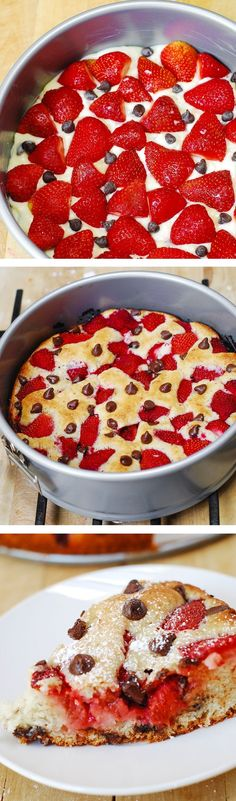 Strawberry chocolate chip cake. Colorful, easy to prepare, light and fluffy cake texture—perfect for the upcoming summer season!