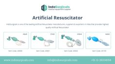 Artificial Resuscitator | Ambu Bag | IndoSurgicals | India - http://www.indosurgicals.com/anaesthesia-equipments-manufacturer/artificial-resuscitator/index.php