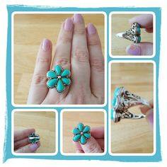 💙 Genuine Turquoise & Sterling Flower Ring 💙 Woman's Genuine Turquoise & Sterling Silver Flower Ring By Nature's Jewelry Size I Believe Is A 10 But Fits Like A 9 - 9 1/2. This Is A Beautiful Unique Ring Looks Awesome Dressed Up Or Down. Excellent Condition Just Sitting In My Armoire 🚫 PAYPAL 🚫 TRADES 🚫 LOWBALL OFFERS 💙 Nature's Jewelry Jewelry Rings
