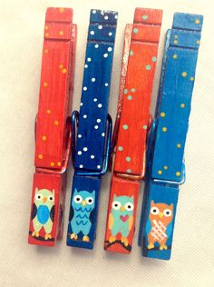 OWL CLOTHESPINS orange and blue hand painted magnets by SugarAndPaint on Etsy