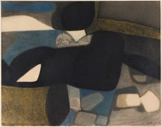Maurice ESTÈVE (1904-2001), Composition 167D; 1959; Charcoal and yellow and blue pencil; 51,5x65 cm