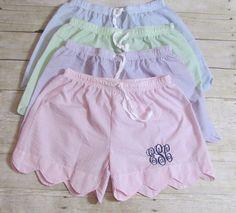 Seersucker Scalloped Pajama Shorts by DiDistitchin on Etsy