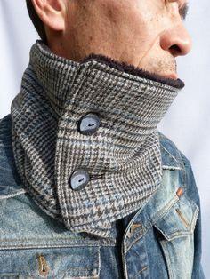 Mens Neck warmer - Grey/Blue Tweed - Men's Scarf/Neckwarmer by moaningminnie - Scarves - Men's Accessories - DaWanda Tweed Men, Tweed Jacket, Urban Fashion, Diy Fashion, Mens Fashion, Sewing Scarves, Latest Mens Wear, Just Style, Diy Scarf