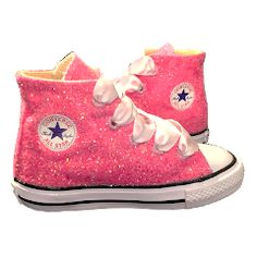 13cb22651b22 Kids Sparkly Glitter Converse All Stars Flower Girls birthday Shoes Pink  Fuchsia