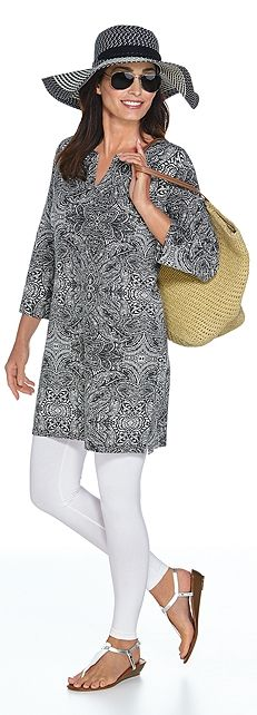 Our Oceanside Tunic Dress & Leggings Outfit is great for wearing on your tropical vacation. If your island hopping or sitting by the pool this dress goes from day to night seamlessly. Plus, it will keep  you protected from the sun with the UPF 50+ protection.