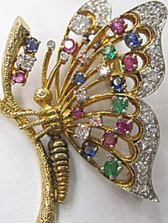 DIAMOND AND GEMSTONE BUTTERFLY PIN