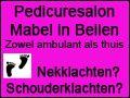 Wij heten Pedicuresalon Mabel van harte welkom op Koopplein Midden-Drenthe. Pedicuresalon Mabel is reeds 10 jaar gevestigd in Beilen. Pedicuresalon Mabel is uw pedicure in Midden-Drenthe, zowel ambulant als thuis. Tegenwoordig zijn zij ook gespecialiseerd in nekklachten en schouderklachten. Zij zijn aangesloten bij de Atlas Massage Groep. Ook heeft Pedicuresalon Mabel een website via Koopplein.nl https://koopplein.nl/middendrenthe/bedrijven/pedicuresalon-mabel