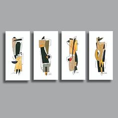 Hand Painted Oil Painting Modern Abstract with Stretched Frame Set of 4 - GBP £ 92.29