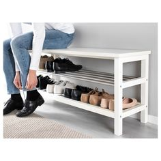 IKEA - TJUSIG, Bench with shoe storage, white, Holds min. 8 pairs of shoes. Combines with other products in the TJUSIG series. Shoe Storage White, Bench With Shoe Storage, Shoe Rack Bench, Diy Shoe Storage, Ikea Shoe Bench, Front Door Shoe Storage, Storage Ideas, Ikea Storage, Shoe Rack By Front Door